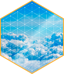 Hexagon pattern with clouds in the background
