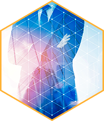 Hexagon pattern with man in suit crossing arms in background